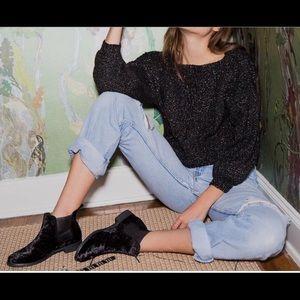 Toms Ella Black Velvet Chelsea Ankle Boots Sz12